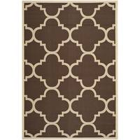 Safavieh Courtyard Quatrefoil Dark Brown Indoor/ Outdoor Rug - 8' x 11'