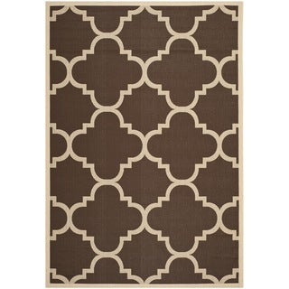 Safavieh Courtyard Quatrefoil Dark Brown Indoor/ Outdoor Rug (9' x 12')