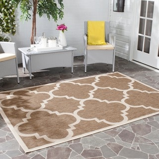 Safavieh Courtyard Quatrefoil Brown Indoor/ Outdoor Rug (7'10 Square)