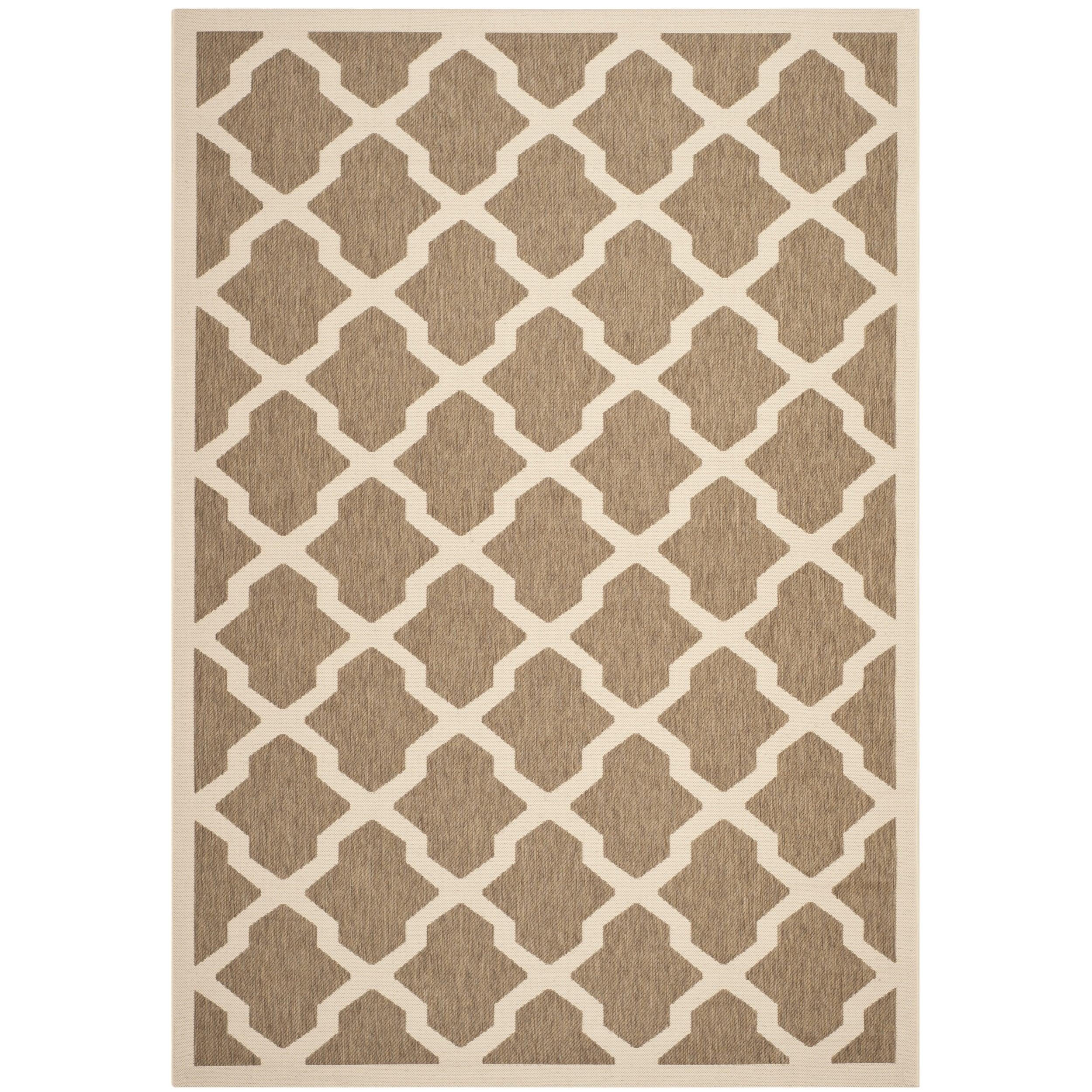 Safavieh Indoor/ Outdoor Courtyard Brown/ Bone Area Rug (53 X 77)