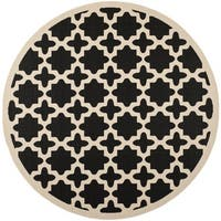 Safavieh Courtyard All-Weather Black/ Beige Indoor/ Outdoor Rug - 7'10 Round