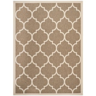 Safavieh Indoor/ Outdoor Contemporary Courtyard Brown/ Bone Rug (6'7 x 9'6)