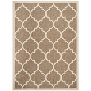Safavieh Courtyard Moroccan Pattern Brown/ Bone Indoor/ Outdoor Rug (6'7 x 9'6)