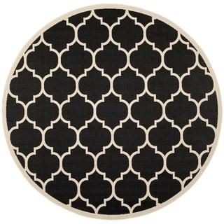 Safavieh Indoor/Outdoor Courtyard Black/Beige Contemporary Rug (7'10 Round)