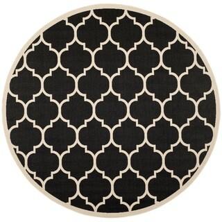 Safavieh Courtyard Moroccan Pattern Black/ Beige Indoor/ Outdoor Rug (7'10 Round)