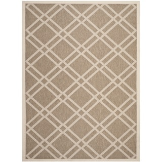 Safavieh Indoor/ Outdoor Courtyard Crisscross Pattern Brown/ Bone Rug (8' x 11')