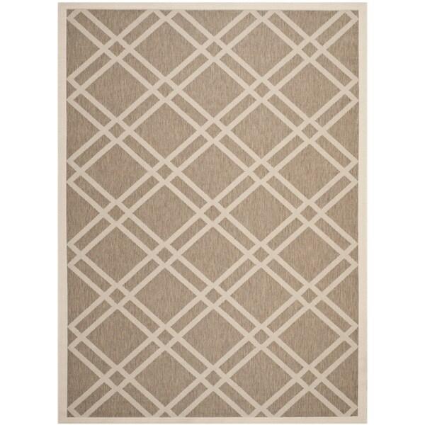 Safavieh Indoor/ Outdoor Courtyard Crisscross Pattern Brown/ Bone Rug - 8' x 11'
