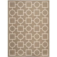 Safavieh Indoor/ Outdoor Courtyard Squares and Circles Brown/ Bone Rug - 8' x 11'