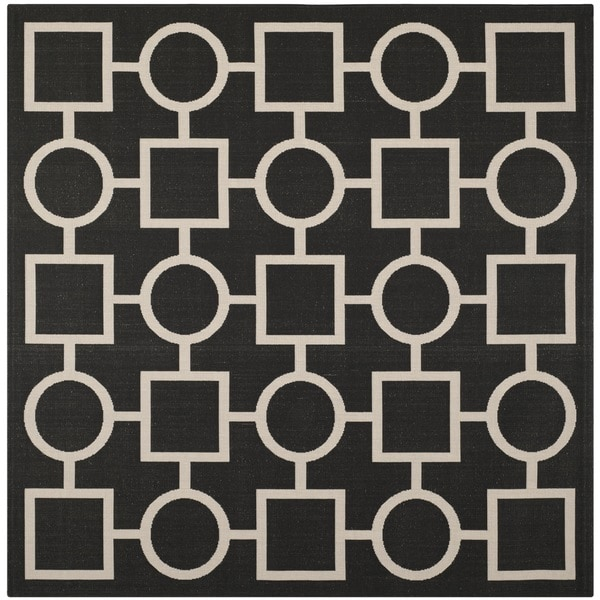 "Safavieh Indoor/ Outdoor Courtyard Squares-and-circles Black/ Beige Rug (7'10"" Square)"