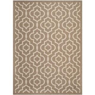 Safavieh Indoor/ Outdoor Courtyard Geometric Brown/ Bone Rug (8' x 11')