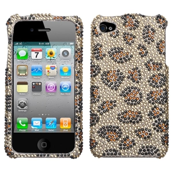 INSTEN Leopard Skin/ Camel Diamante Phone Case Cover for Apple iPhone 4S/ 4