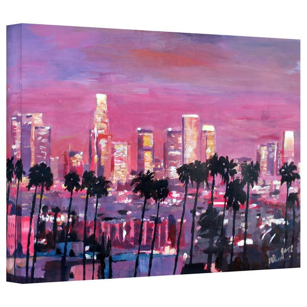 Markus Bleichner 'Los Angeles Golden Skyline' Gallery Wrapped Canvas - Purple