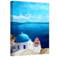 Markus Bleichner 'Oia Santorini with Blue Sky' Gallery Wrapped Canvas - Red/White