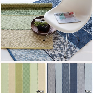 Artist's Loom Handmade Flatweave Contemporary Reversible Natural Eco-friendly Cotton Rug (7'9x10'6)