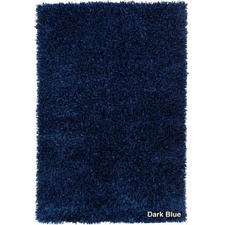 Artists Loom Hand-woven Shag Rug (79 x 106) - 79 x 106 (Dark Blue)