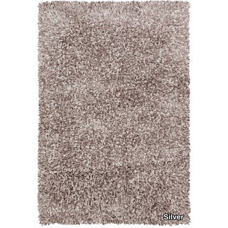 Artists Loom Hand-woven Shag Rug (79 x 106) - 79 x 106 (Silver)