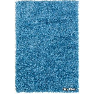 Artists Loom Hand-woven Shag Rug (79 x 106) - 79 x 106 (Sky Blue)