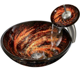VIGO Northern Lights Glass Vessel Waterfall Faucet Set
