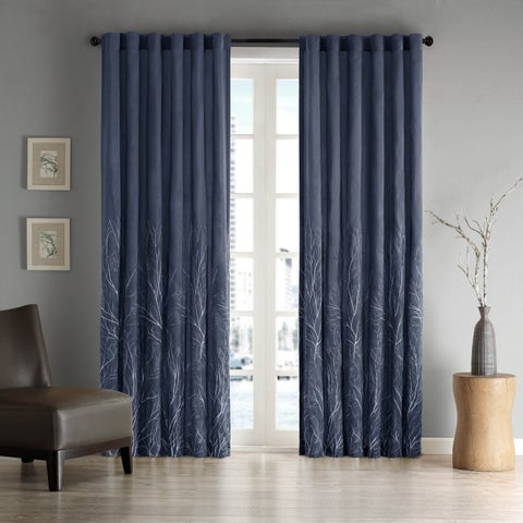 Clay Alder Home McClugage Embroidered Faux Silk Curtain Panel