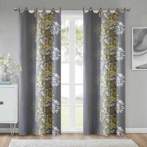 Porch & Den Manhed Floral Pattern Cotton Curtain Panel (Single)