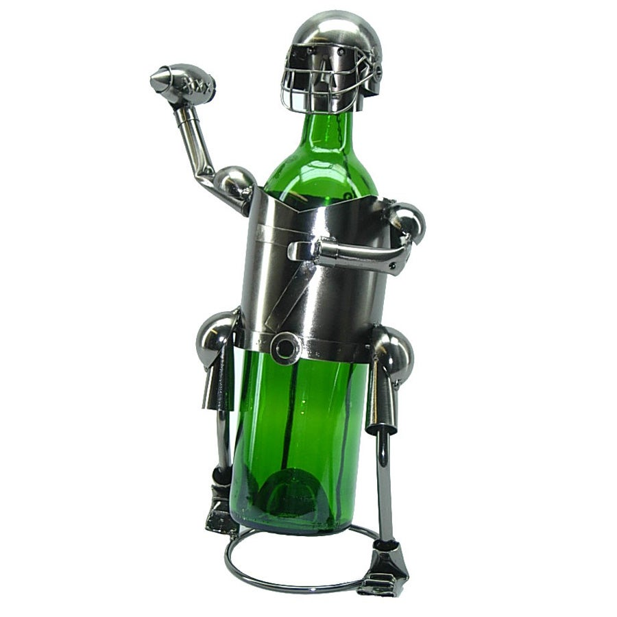 Wine (Red) Bottle Holder Football Player Wine Caddy (Metal)