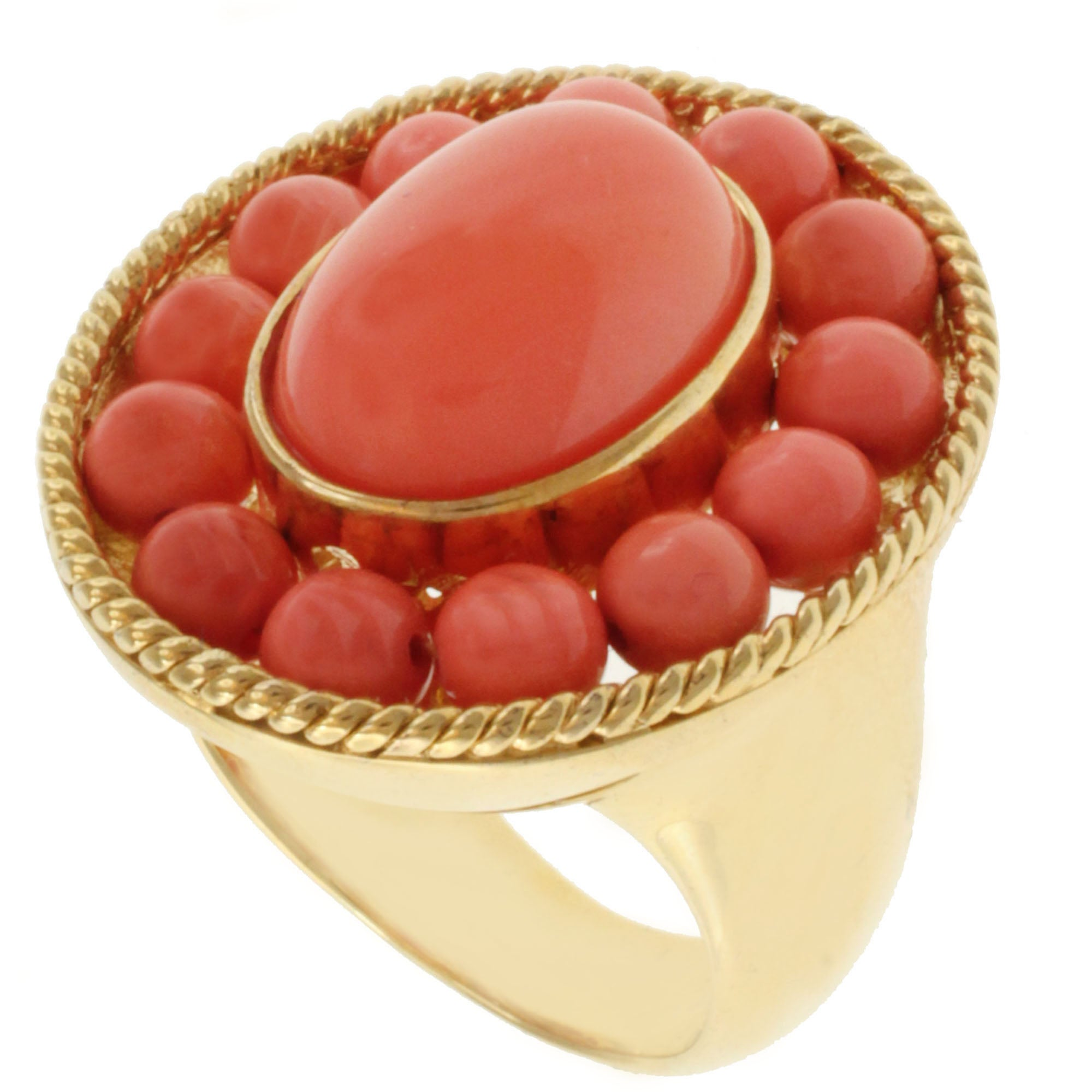 Michael Valitutti Gold over Silver Salmon Coral Ring