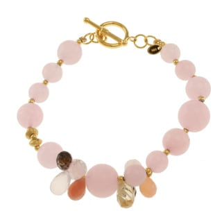 Michael Valitutti Gold over Sterling Silver Morganite, Smoky Quartz, Rose Quartz, Peach Moonstone and Citrine Bracelet