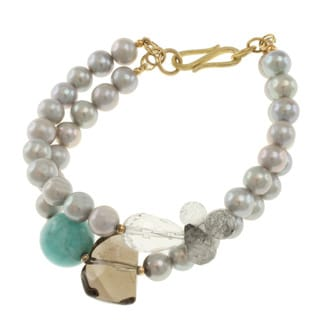 Michael Valitutti Gold over Sterling Silver Amazonite, Smoky Quartz, Tourmalated Quartz, Rock Crystal and Pearl Bracelet (7 mm)