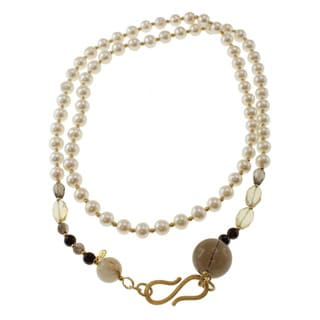 Dallas Prince Gold over Silver Pearl, Smoky Quartz, Citrine, Garnet and Rutilated Quartz Necklace (8 mm)
