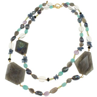 Michael Valitutti Gold Over Sterling Silver Multi-gemstone and Pearl Necklace (7-11 mm)