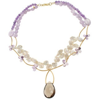 Michael Valitutti Gold Over Sterling Silver Amethyst, Smoky Quartz, Lavender Quartz and Keshi Pearl Necklace (10-12 mm)