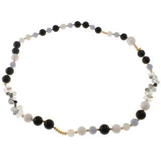 Dallas Prince Gold over Sterling Silver Obsidian, Agate, Moonstone and Quartz Necklace