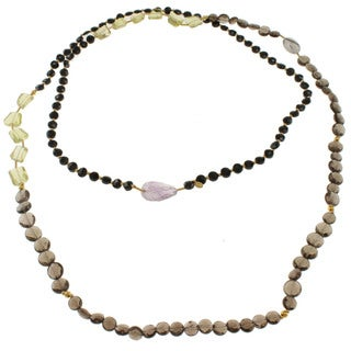 Michael Valitutti Gold over Sterling Silver Lemon Quartz, Smoky Quartz, Amethyst, Black Spinel and Rutilated Quartz Necklace