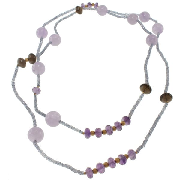 Michael Valitutti Gold over Sterling Silver Amethyst, Smoky Quartz and Lavender Quartz Necklace