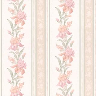 Peach Floral Stripe Wallpaper