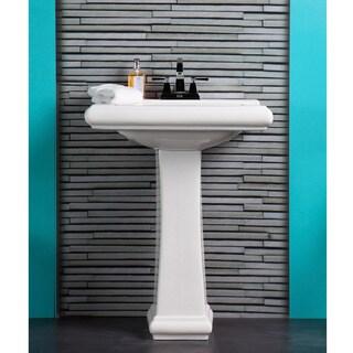 Fine Fixtures Ashfield Model AS2619W White Ceramic Pedestal Bathroom Sink