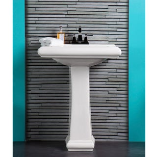 Fine Fixtures Ashfield Ceramic White Pedestal Bathroom Sink, Model AS2619W