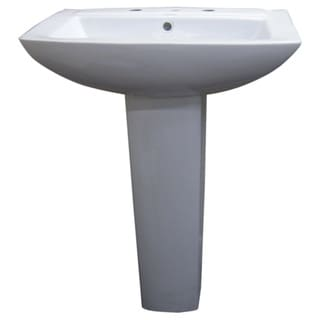 Fine Fixtures Modern Square White 8-inch Spread Ceramic Pedestal Sink