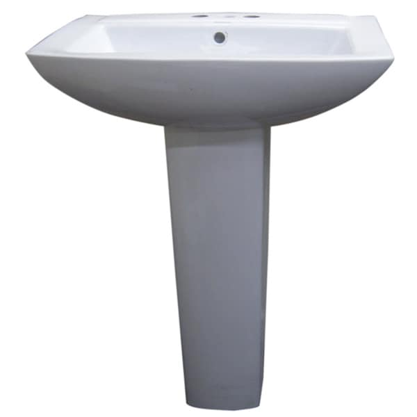 Fine Fixtures Modern Square White 4-inch Spread Ceramic Pedestal Sink