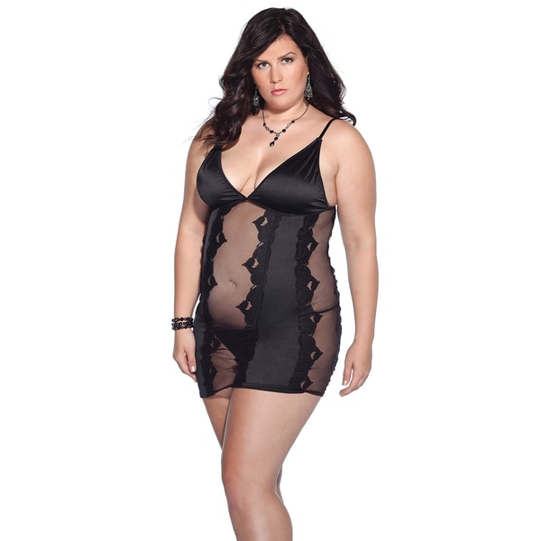 Shop Coquette  Kissable  Plus Size Black Lace Panel Lycra Chemise ... 1e0d5f3a1
