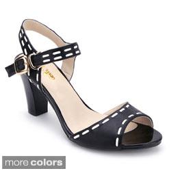 Ann Creek Women's 'Sutton' Topstitched Low-heel Sandals