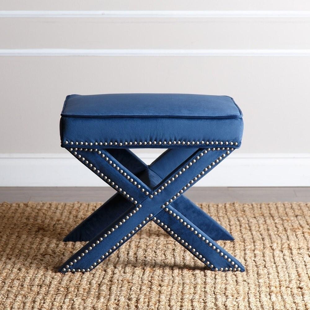 Enjoyable Silver Orchid Fein Navy Blue Nailhead Trim Ottoman Bench Theyellowbook Wood Chair Design Ideas Theyellowbookinfo