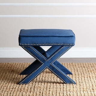 ABBYSON LIVING Marcus Navy Blue Nailhead Trim Ottoman Bench
