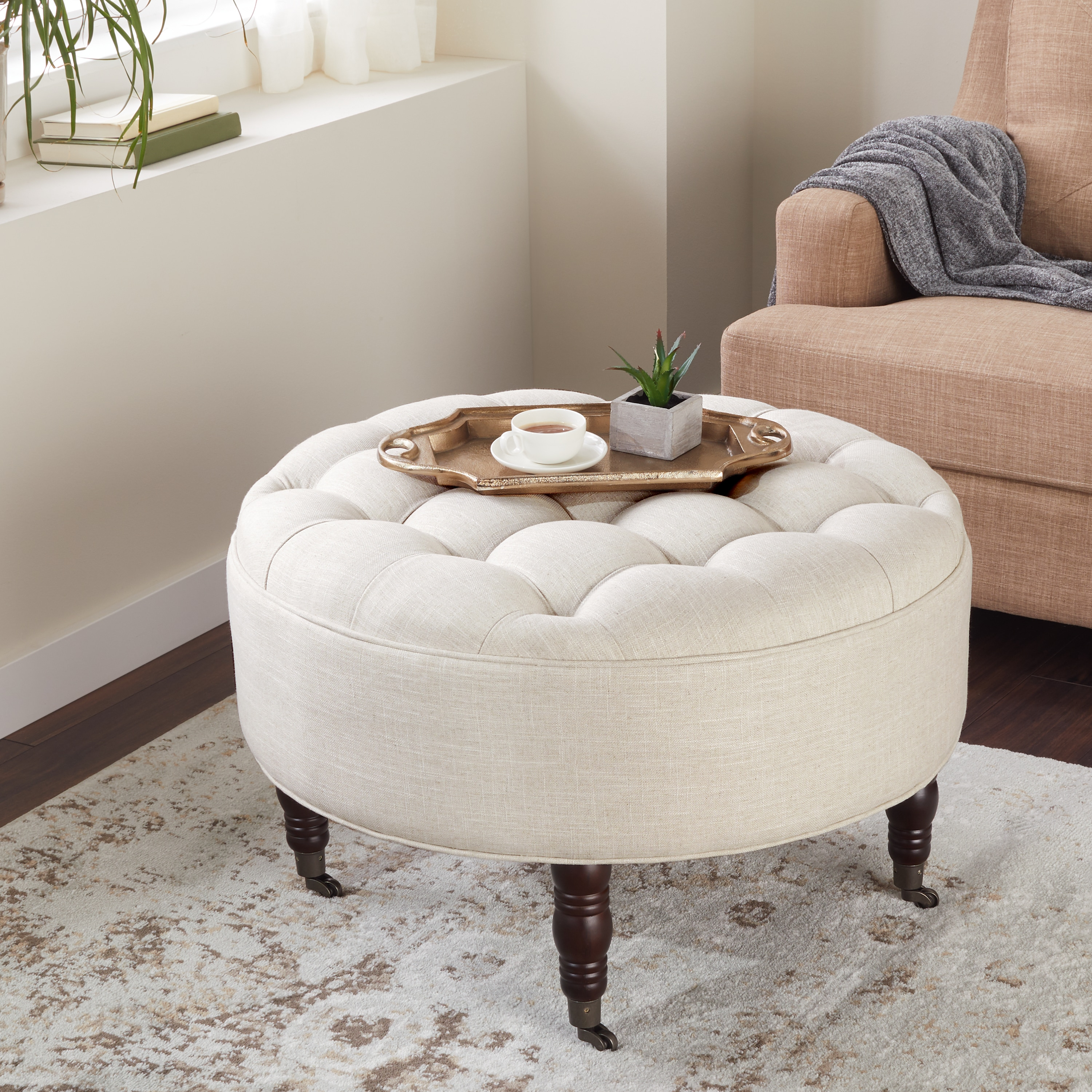 Miraculous Abbyson Clarence Tufted Round Ottoman Andrewgaddart Wooden Chair Designs For Living Room Andrewgaddartcom