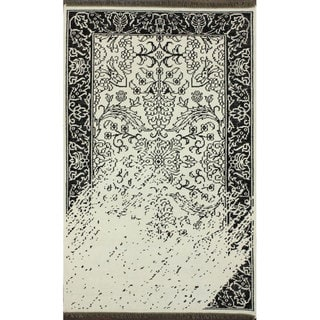 nuLOOM Hand-knotted Vintage Inspired Overdyed Black/ White Rug (7'6 x 9'6)