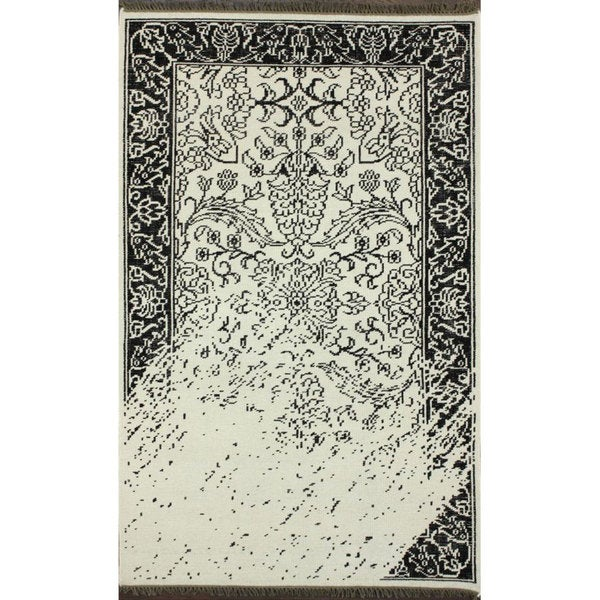 Nuloom Hand Knotted Vintage Inspired Overdyed Black White