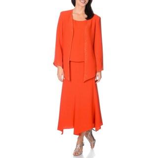 Giovanna Signature Women's Washable Rhinestone Detail 3-piece Jacket Dress