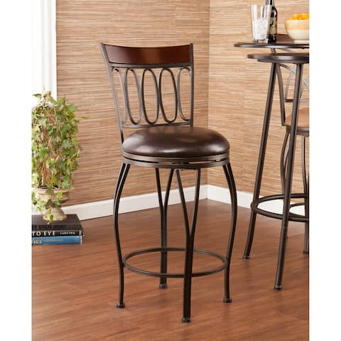 Harper Blvd Traditional Walnut Brown Swivel Counter Stool