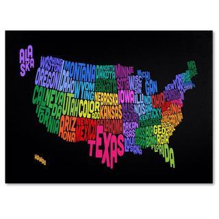 Michael Tompsett 'USA States Txt Map' Canvas Art