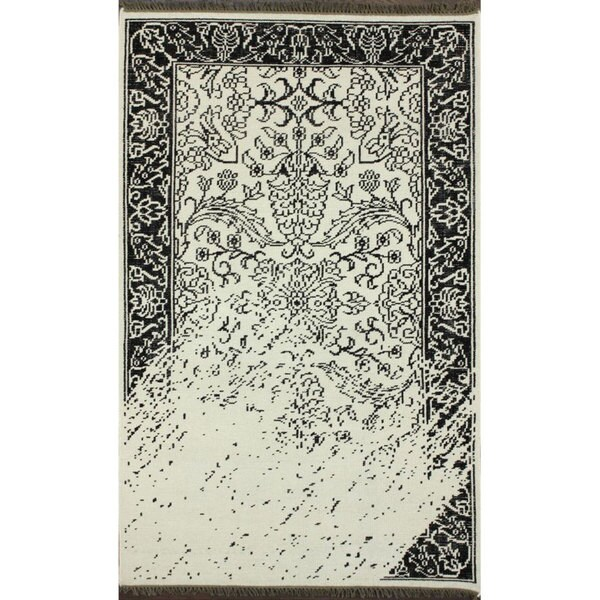 Nuloom Black And White Rug: NuLOOM Hand-knotted Vintage-inspired Overdyed Black/ White